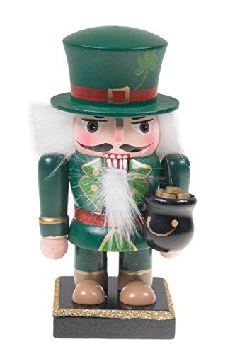 Clever Creations - Traditioneller Nussknacker-Kobold - rundliches Design - Festliche Weihnachtsdeko - grünes Leprechaun-Outfit mit Einem Topf voll Gold - ideal für Regale und Tische -100% Holz-16,5cm