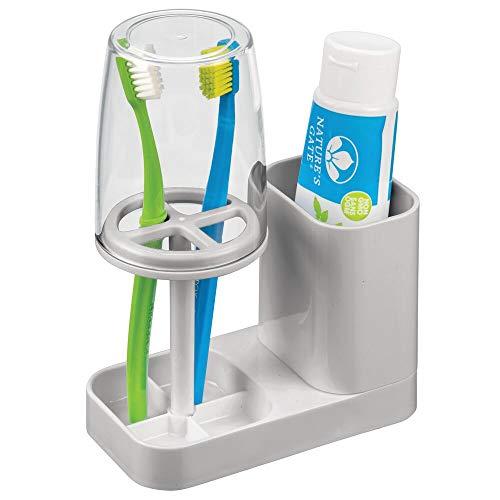mDesign Zahnbürstenhalter mit Becher - hochwertiger Zahnputzbecher mit Deckel fürs Bad - Halterung für Zahnbürsten und Zahnpasta aus Kunststoff - hellgrau und durchsichtig