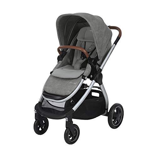 Maxi Cosi Adorra Kombi Kinderwagen, mit Liegeposition, großem Einkaufskorb, einhändigem Faltmechanismus und geringem Gewicht, nutzbar ab Geburt bis ca. 3,5 Jahre, 0-15 kg, Nomad Grey (grau)