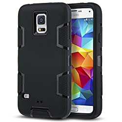 S5 Case, Ulak Samsung Galaxy S5 Case Rugged Hybrid Rubber Protective Hard Case Cover For Samsung Galaxy S5 S V I9600 With Screen Protector (Black + Black)