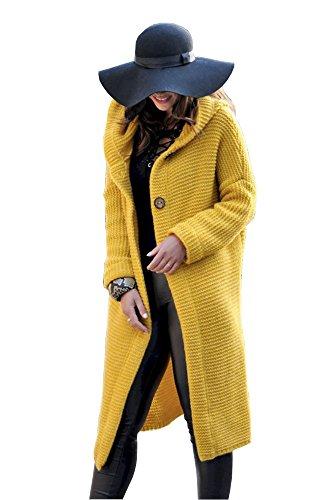 Lsecret Damen Strickjacke Mantel Wolle Mohair Neu 36 38 40 (Gelb)