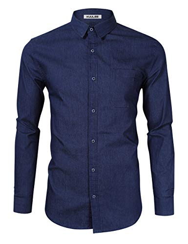 KUULEE Herren Jeanshemd Slim Fit Langarmhemd - Baumwolle/Denim - für Anzug, Business, Freizeit Dunkelblau M