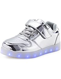 FLARUT Niños Zapatos con USB Carga Light Up Zapatos Junior Casuales Led Luminoso Zapatillas
