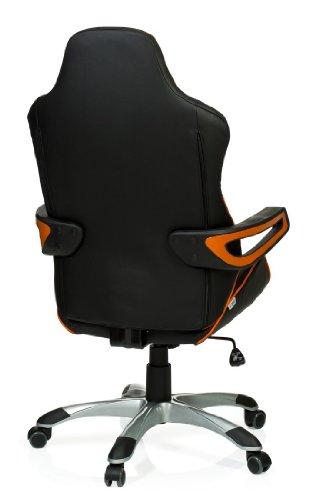 hjh OFFICE RACER PRO – Silla gaming o de oficina, piel sintética, color negro y naranja