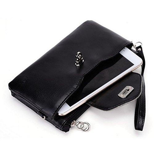 Kroo Pochette Portefeuille en Cuir de Femme avec Bracelet pour OnePlus One noir - Noir/gris noir - Noir/gris