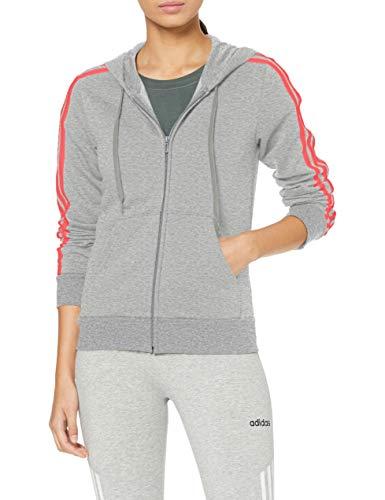 adidas Essentials 3stripes Full Zip Hoodie Hooded Track Top, Damen XS Grau/Rosa (medium Grey Heather/Prism pink) -