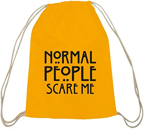 Shirtstreet24, AHS - Normal People Scare Me, Baumwoll natur Turnbeutel Rucksack Sport Beutel gelb natur