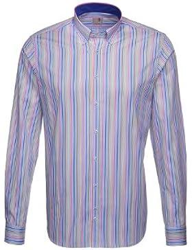 Seidensticker Herren Langarm Hemd Schwarze Rose Slim Fit Button-Down-Kragen mehrfarbig gestreift mit Patch 228552.16