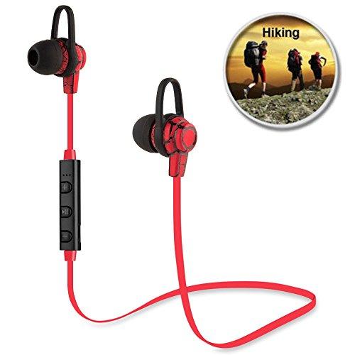 Sport Auriculares Bluetooth KanLin1986 Auriculares estéreo inalámbricos Auriculares con cancelación de ruido con micrófono (rojo)