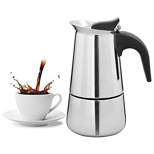 Moka Pot, MMKICC Tragbare Espressomaschine Moka Pot Edelstahl Kaffeemaschine Wasserkocher Topf Für Pro Barista Kochfeld, 300ml
