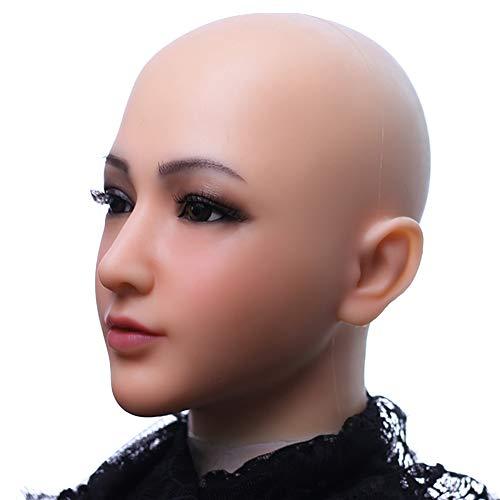 PINGJIA Silikonmaske Realistisches weibliches Gesicht mit leichtem Make-up für Crossdresser Masquerade Transgender Lovers Crossdressing