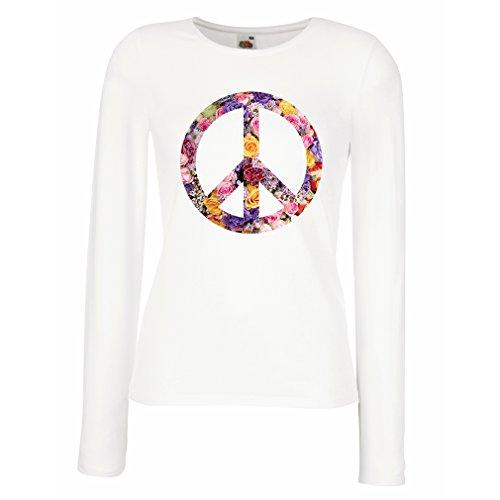 meln T-Shirt Friedenssymbol, 60er, 70er Jahre, Hippie, Friedenszeichen Blume, Sommer, Retro, Swag (XX-Large Weiß Mehrfarben) (Last Minute Kostüme Für Die Besten Freunde)