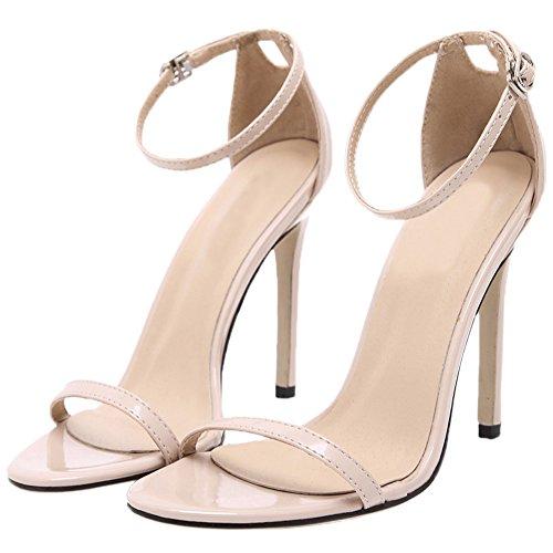 HooH Femmes Sandales Stiletto Peep Toe Sexy Ankle Strap Escarpins Beige