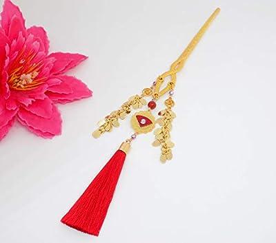 Pic à cheveux pendentif rosace laiton doré cuir rouge strass swarovski light amethyst, perle agate rouge et pompon rouge