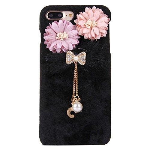 Hülle für iPhone 7 plus , Schutzhülle Für iPhone 7 Plus 3D Blume Plüsch Stoff Abdeckung PC Schutzhülle mit Diamant verkrustet Bowknot Kette Anhänger ,hülle für iPhone 7 plus , case for iphone 7 plus ( Black
