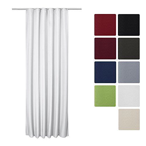 Beautissu Blickdichter Kräuselband-Vorhang Amelie - 140x245 cm Weiß - Dekorative Gardine Universalband Fenster-Schal