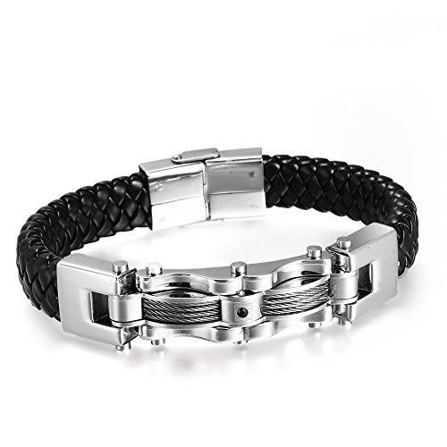 Vnox Gioielli Uomo Punk Rock in acciaio inossidabile intrecciato Vera Pelle Wristband CZ diamante del braccialetto del nero