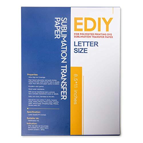 EDIY Sublimationspapier für Inkjetdrucker, 21,6 x 27,9 cm, 110 Blatt, Pink  Back-Design, Farbstoff 3D Sublimation, Inkjet Drucker für HP, Epson,