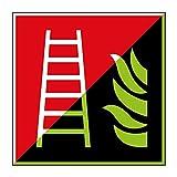 Feuerleiter Brandschutzzeichen 200x200mm - lang nachleuchtend - Folienschild selbstklebend - gem. ASR 1.3, DIN ISO 7010 (F003)