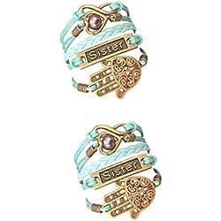 STRASS & PAILLETTES Lot de Deux Bracelets Sister Bleu Turquoise Main de Fatma. Coeur et Perle d'amour. Lien Infini. Cadeau Soeur Meilleure Amie