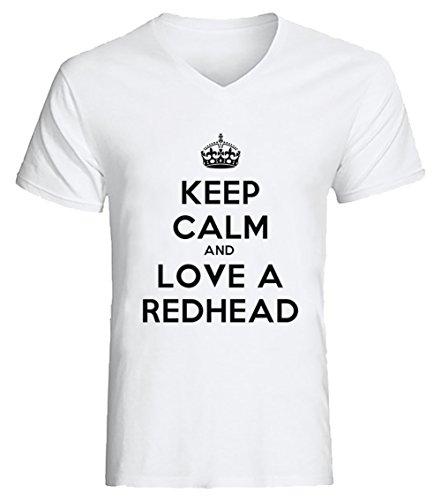keep-calm-and-love-a-redhead-uomo-v-collo-t-shirt-bianco-cotone-maniche-corte-white-mens-v-neck-t-sh