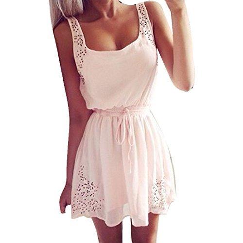 Internet Damen Kleid Frauen Freizeit Kleider Sommer ( EU36(Asia M), Weiß )