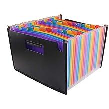 gossipboy alta capacidad Multicolor soporte extensible portátil acordeón A4carpeta de archivos Documento cartera maletín bolsa de negocios de plástico archivo organizador 24bolsillos
