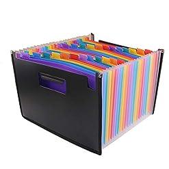 GossipBoy Cartella portadocumenti, multicolore, espandibile, portatile, struttura a fisarmonica, in plastica, con 24tasche