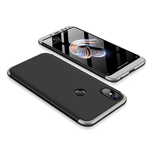 Bigcousin Xiaomi Redmi Note 5 Pro Hülle, mit [1 x Panzerglas Schutzfolie] 3 in 1 Ultra Dünner PC Harte Schutzhülle 360 Grad Hülle Fullbody Case Cover für Xiaomi Redmi Note 5 Pro - Silber + Schwarz