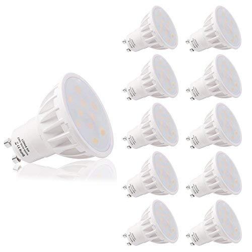 LOHAS No-Regulable 6Watt GU10 LED Bombillas, Equivalente a 50Watt Lámpara Incandescente, Blanco...