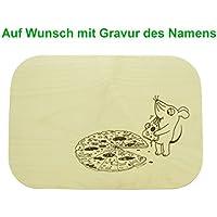 """Pizzabrett Pizzateller mit Gravur 26x18cm Schneidebrett """"Sendung mit der Maus"""" Holz Ahorn"""