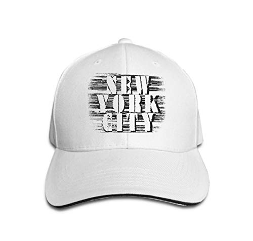 Unisex Baseball Cap Snapback Adult Cowboy Hat Hip Hop Trucker Hat New York City Typography Fashion Style White