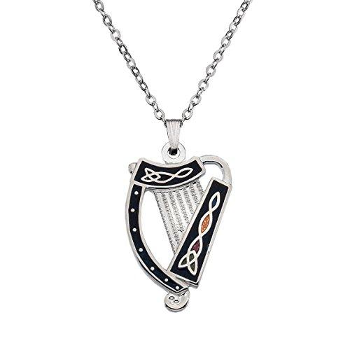 Halskette mit Anhänger Emaille keltische irische Harfe