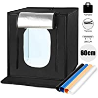 Amzdeal Photo Studio Portable 60x60x60cm Pliable 5000LM LED Boîte à Lumière 5500K, 4× Fonds Bleu/Blanc / Noir/Orange, Facile à Installer et Démonter avec Velcros Fixation Forte - Version Upgrade