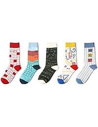 LFY Paquete de 5 Calcetines, Calcetines de Marea Europeos y Americanos, Calcetines de algodón