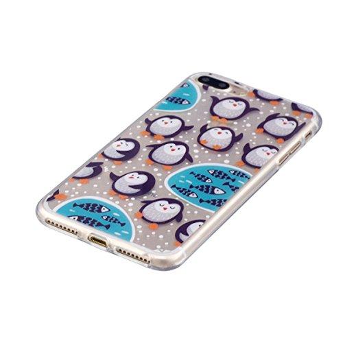 Coque iPhone 8 Plus, Coque iPhone 7 Plus, Lifetrut Ultra Doux et Gel TPU Silicone Transparent Housse Boîtier Brillant pour iPhone 8 Plus /iPhone 7 Plus [Cœurs] E207-Manchot