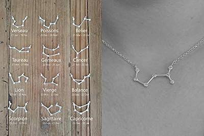 Collier constellation argent 925 - Collier zodiaque argent - Pendentif signe astrologique - Bijou céleste - Vierge Balance Scorpion etc