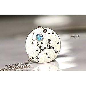 Kette Mondstein - 925 Sterling Silber - Der kleine Prinz/Geschenk für Sie/Himmlische Kette mit Regenbogen Mondstein/Besonderer Schmuck/Märchen /