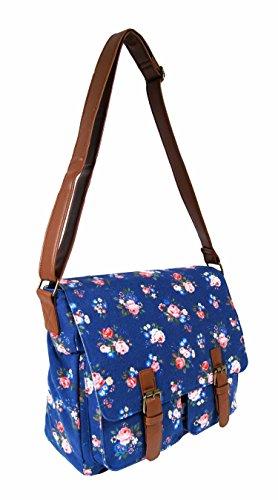 Borsa a tracolla da donna stile casual, in tela, per la scuola, da viaggio multicolore Wallflower Purple Floral Navy