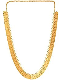 KailasMegha Gold-Plated Temple Laxmi Coin Chain Necklace Set For Women