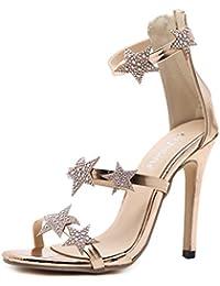 DANDANJIE Scarpe da Donna Sandali con Tacco Alto Sandali con Cinturino alla  Caviglia con Stelle Strass e Stelle estive… 40d3ae2ed38