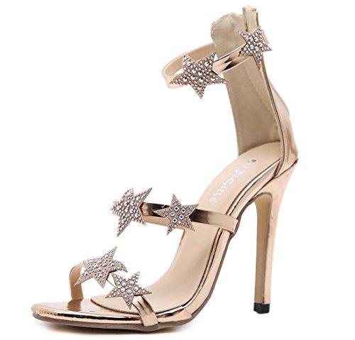 Scarpe da Donna Sandali con Tacco Alto Sandali con Cinturino alla Caviglia con Stelle Strass e Stelle estive Scarpe con Tacco a Spillo Aperte per Feste e Serate (Colore : Oro, Dimensione : 35)