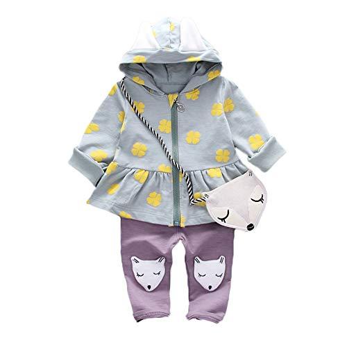 Kinder Mäntel Sunnydrain Kinderjacken Hoodie Patchwork A-Line Top+Hosen+Bag Kaninchen Winter Warm Herbst Kapuzen Outerwear Baumwolle Langarm