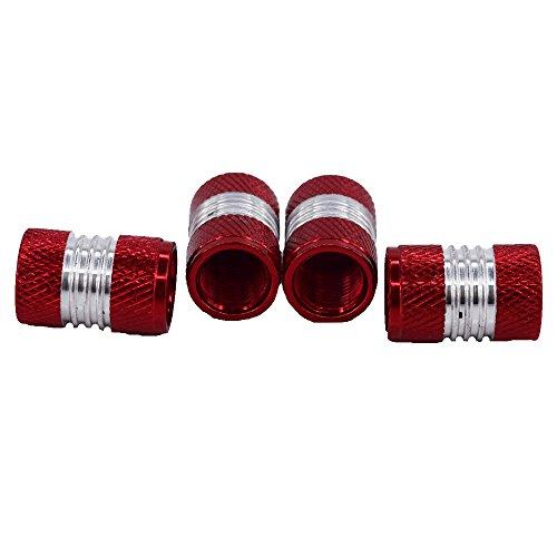 Outletshop24 Hochwertiges Aluminium Reifen Ventilkappen Set Rot 4 Stück einfache Montage Eintragung Frei