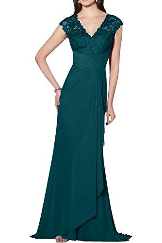cdb67e72ea49 Charmant Damen Fliessend Spitze Chiffon Abendkleider Abiballkleider  Abschlussballkleider Royal Blau Lang Tinte Blau