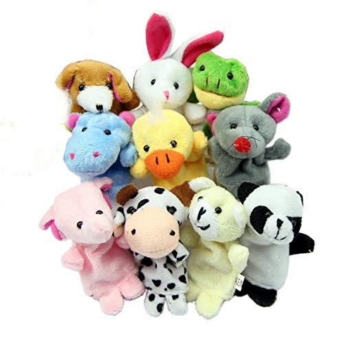 XuBa Fingerpuppen, Cartoon-Design, Plüsch, Spielzeug, Puppe, 10 Stück Wie abgebildet