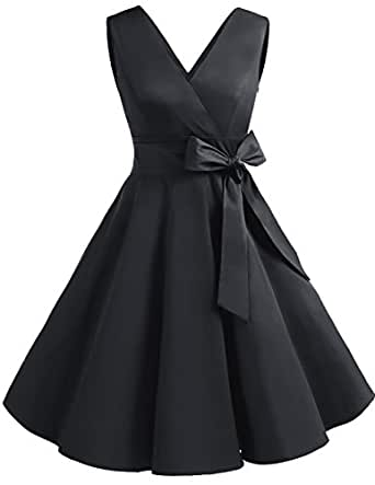 f7ab1db5ac8 Dresstells reg  Vintage 1950s Solid Color V Neck with Bow Tie Retro Swing  Dress Black S. Dresstells