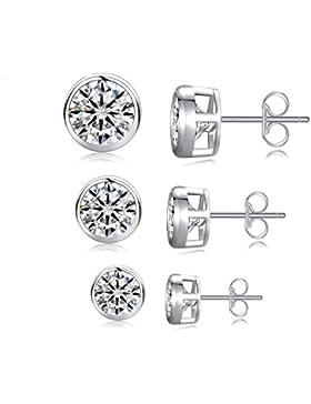 EVERU 925 Sterling Silber Ohrstecker Ohrringe Zirkonia - 3 Paar Pack (4mm,5mm,6mm) - Nickelfreie Hypoallergen