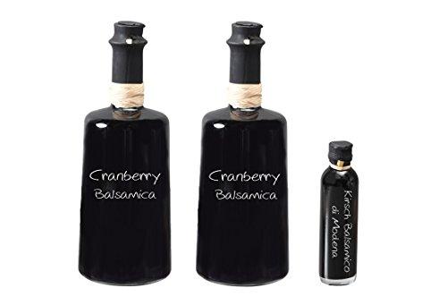 Wajos Cranberry Crema Balsamico 3 % Säure 2x250 ml I Sparset mit Oliv & Co. Kirsch Balsamico di Modena 40ml -