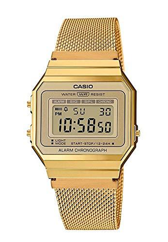CASIO Damen Digital Quarz Uhr mit Edelstahl Armband A700WEMG-9AEF